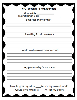 My Work Reflection: A Student Self Evaluation Form