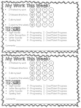 My Work this Week - Parent Communication Forms