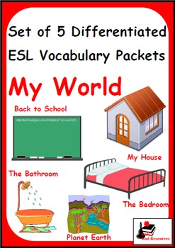 My World - Bundle of 5 Differentiated Vocabulary Packets for Language Learners