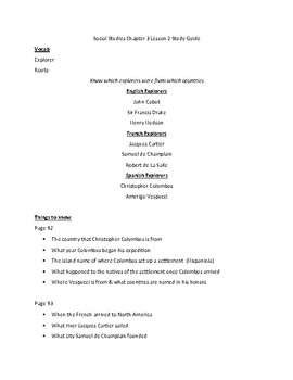 My World Social Studies (3rd Grade) Chapter 3 Lesson 2 Study Guide