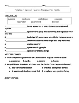 My World Social Studies Chapter 3 Assessments-Grade 3