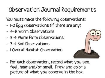 My Worm/Worm Farm Observation Journal