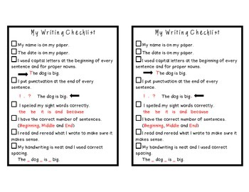 My Writing Checklist- Building More Independent Writers