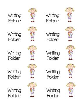 My Writing Folder labels