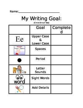My Writing Goal Basic (Kindergarten)