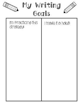My Writing Goals Sheet
