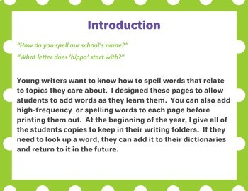My Writing Words Dictionary (Fillable PDF File!) Personal Dictionary