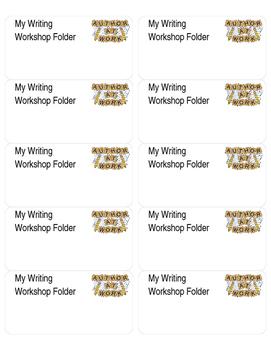 My Writing Workshop Folder Labels - Editable