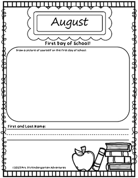 My Year in Kindergarten - A Monthly Informal Assessment