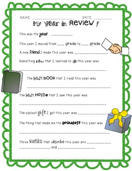 My Year in Review!  A Journaling Activity