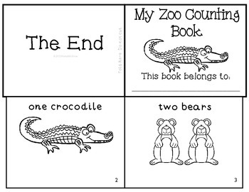 Zoo Animals Counting Mini Book Emergent Reader