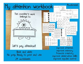 My attention workbook. 24 worksheets ready to print and use