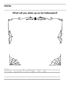 My costume is writing activity for Halloween