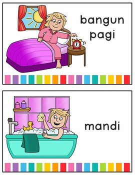 My daily routine activities in Indonesian / Bahasa Indonesia