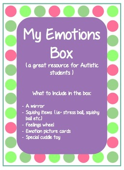 My emotions box- autistic resource