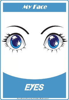 My face (Head) Flashcards / Set of 8 / Printable