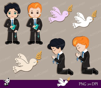 My first Communion Clipart for Boys. Digital Clipart Set.