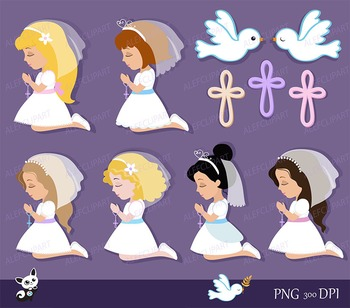 My first Communion Clipart for Girls. Digital clipart.