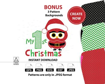 My first christmas owl clipart,digtal clipart svg, baby's 1st christmas