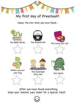 My first day of preschool activity