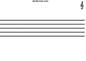 My first music score - Blank music staff for 2-4 year olds