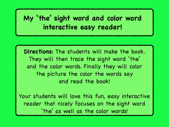 My interactive sight word 'the' and color word easy reader