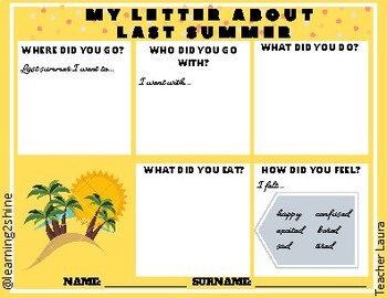 My letter about last summer (graphic organiser + written task template)