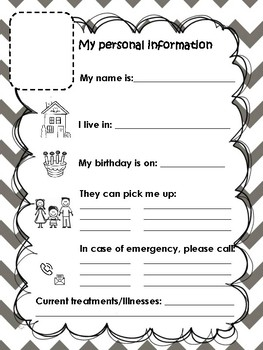 My personal information printable