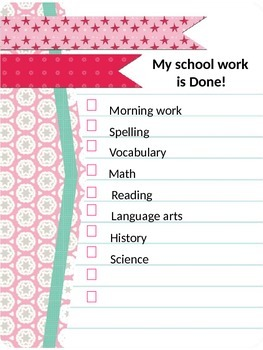 My school work is Done! Check off sheets