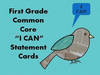 """MyFirst Grade Common Core """"I CAN"""" Statements"""