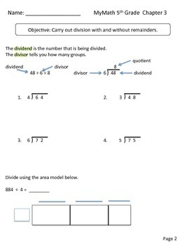 MyMath 5th Grade - Chapter 3 - supplemental resources