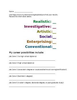 MyNextMove.org Career and Interest Inventory