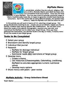 MyPlate Menu - Designing a menu for a target population