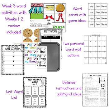 MyView Literacy Kindergarten High Frequency Words Activities UNIT 2 WEEK 3