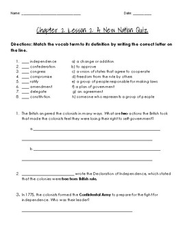 MyWorld Chapter 2 Lesson 2: A New Nation Quiz 4th Grade
