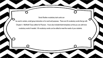 MyWorld Texas 4th Grade S.Studies Vocab. Chapter 5