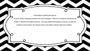 MyWorld Texas 4th Grade S.Studies Vocab. Chapter 9