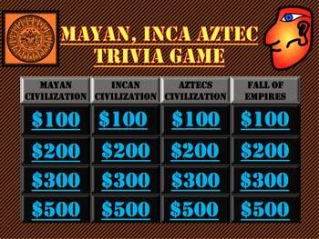 Myan, Inca, Aztec, Trivia Game Like Jeopardy