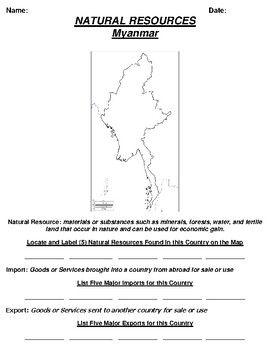 Myanmar Natural Resource Worksheet and Word search