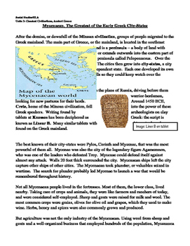 Mycenaean Greatest of the Early Ancient Greek City-States Informational Text