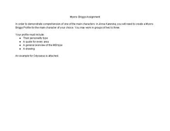 Myers-Briggs Character Analysis Activity