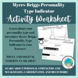 Myers Briggs Personality Type Indicator (MBTI) Activity Worksheet