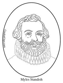 Myles Standish Clip Art, Coloring Page or Mini Poster