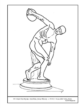Myron. Discobolus (Discus Thrower). Coloring page & lesson