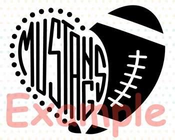 Mustangs Sport Heart SVG NFL nba mlb ncaaf Cheer high School Spirit 913S