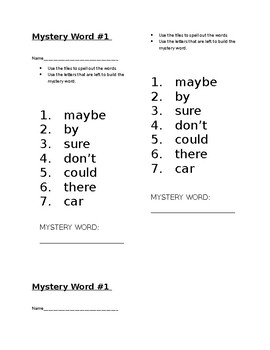 Myster Word! Journeys 1st Grade High Frequency Lesson 17