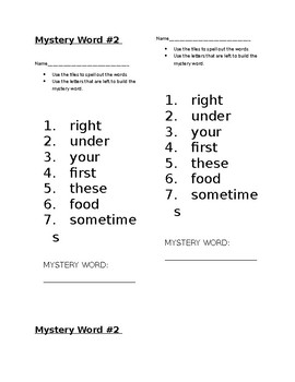 Mystery Word! Journeys 1st Grade High Frequency Lesson 18