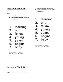 Mystery Word! Journeys 1st Grade High Frequency Lesson 22