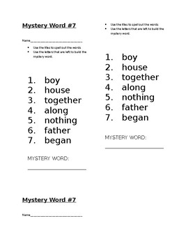 Mystery Word! Journeys 1st Grade High Frequency Lesson 23