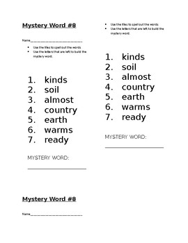 Mystery Word! Journeys 1st Grade High Frequency Lesson 24